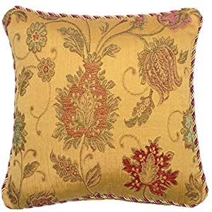 """BALMORAL GOLD BY CACHE DESIGNS SUPERB BRAIDED GOLD RED TAPESTRY CHENILLE 18"""" THICK HEAVYWEIGHT CUSHION COVER"""
