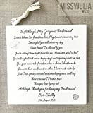 Thank you Personalised Maid of Honour Bridesmaid Plaque Wooden Sign Card W208