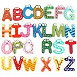 Ascend Store™ Cute Colourful Wooden ABC Fridge Magnets Learning Toy For Kids