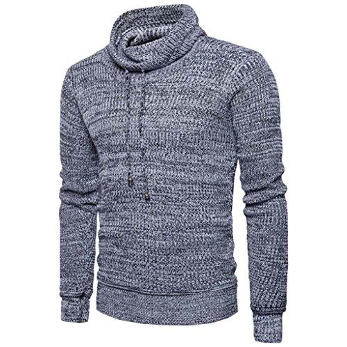 Herren Pullover,Dasongff Mode Herren Strick pulloverr mit Hohem Halsausschnitt Knitwear Strickpulloverr Tops Bluse (L, Hellgrau) (Feinstrick-mischung)