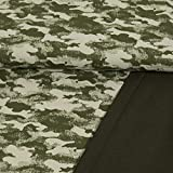 French Terry Stoff Camouflage Muster olivgrün 180 cm breit