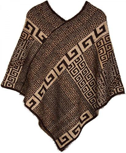 styleBREAKER Poncho mit Meander Ornament Muster, weich und fransig, V-Ausschnitt, Damen 08010037, Farbe:Braun-Beige