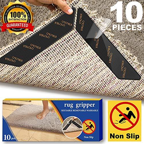 Antirutschmatte für Teppich, 10 Stück Teppichgreifer Antirutschmatte Waschbar Teppich Ecke Rutschfest Teppichstopper wiederverwendbar Rutschschutz für Teppich - Teppich-pad
