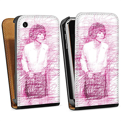 Apple iPhone 5 Housse Étui Silicone Coque Protection Fille Dessin Gribouillage Sac Downflip noir