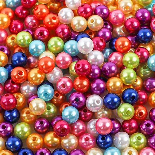 Outuxed 600 Stück 8mm Kunstperlen 10 Farben ABS Farbige Perle Runde Perlen für Schmuck Handwerk DIY Basteln
