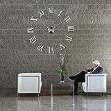 Weisidun XXL DIY Wanduhr Moderne Clock 3D Spiegel Oberflächen Wanduhren Acryl Metall Rahmenlose Wand Aufkleber Uhren Style Raum Home Dekoration (Silber 2)