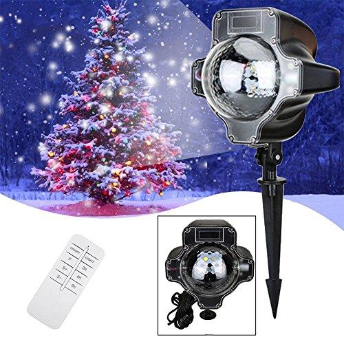 e led Lampe Projektor mit Fernbedienung Schneeflocke Stmmungsbeleuchtung Weihnachtsbeleuchtung Dekoration für Halloween Weihnachten Party Festival Innen Außen (Halloween-innen-dekoration)