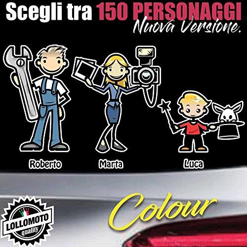 StickMan© 2.0 Colorati Adesivi Famiglia Auto Stickers Family per Skoda Fabia Octavia Superb Yet Roomster - 4 Perso