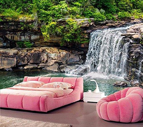 Yosot 3D-Wandbilder Tapeten. Wasserfälle Steine Natur Tapeten Wohnzimmer Fernseher Sofa Wand Schlafzimmer Foto Tapeten-140Cmx100Cm