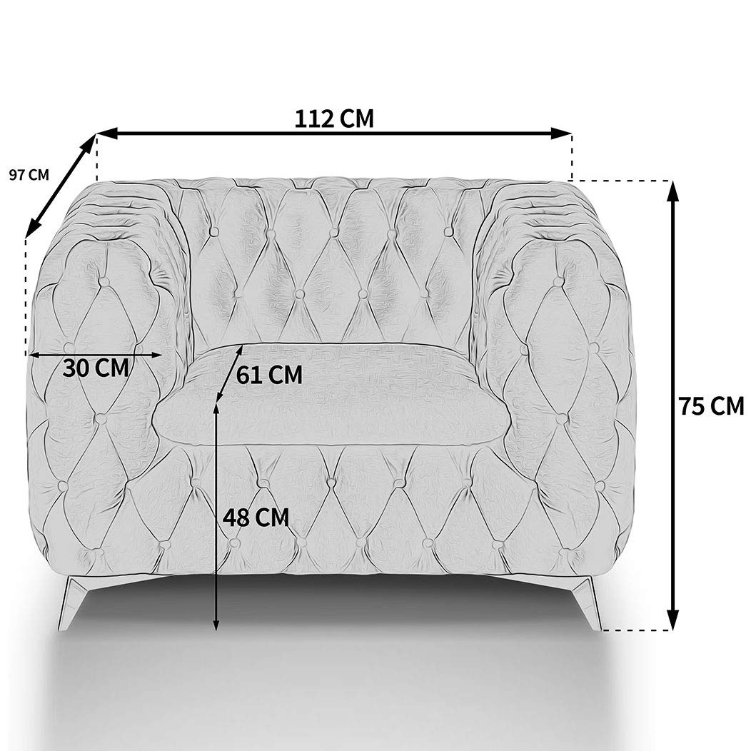 Chesterfield Sofa Couch Stoff Samt 3 Sitzer 2 Sitzer Sessel 1 Sitzer Designer Möbel Emma (1-Sitzer, Beige) 2