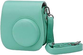 LEDMOMO PU Leather Camera Bag Protective Case Shoulder Bag Pouch Crossbody Bag Satchel for Fujifilm Instax Mini 8/8+/ 9 Instant Camera (Light Blue)