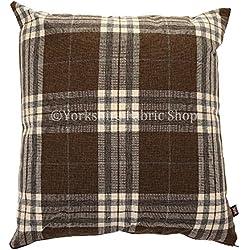 """Funda inspirado escocés Tartan Diseño de cuadros tejido cojín relleno cojines británico hecho a mano marrón color–Tamaño grande–55cm x 55cm–22""""x 22pulgadas"""