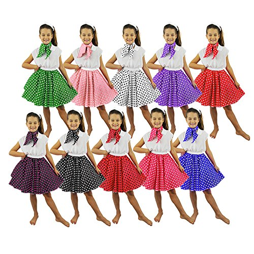 Western Kostüm Kinder Tanz - ILOVEFANCYDRESS Polka-DOT Rock=10 2 VERSCHIEDENEN LÄNGEN (48cm-62cm) HÜFTUMFANG 68cm=TANZVERANSTALLTUNGEN Gruppen Western Tanz AUFFÜHRUNGEN Rock&ROLL = 48cm- Rock-SCHWARZ ROSA Punkten