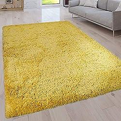 Paco Home Tapis Poils Longs Salon Lavable Shaggy Uni Dif. Coloris/Tailles, Couleur:Jaune, Dimension:120x160 cm