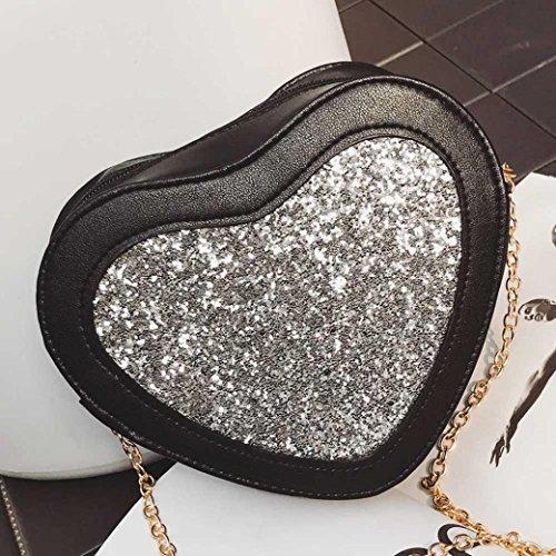 BZLine® Damen Heart-Shaped Handtasche Umhängetasche Tasche Small Tote Taschen Silber