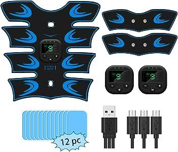 sumgott Elettrostimolatore per Addominali, EMS Toner Muscolare Stimolatore Ricaricabile Addominale Armi USB Ricaricabile per Uomo Donna, Rilievi Gel 12 pz gratuiti