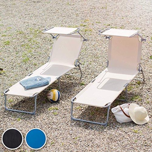 TecTake Gartenliege Sonnenliege Strandliege Freizeitliege mit Sonnendach 190cm -diverse Farben- (Schwarz) - 3