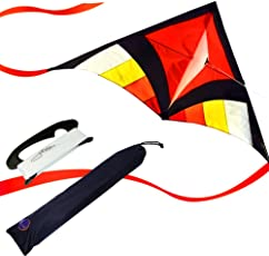 EMMAKITES Super einfach zu fliegen Kite - Miss Sora Rainbow Delta Kite 1.5 Meter Cute Joyful - RTF Kit mit Doppel Kite Tails & 100M Kite String - Nizza Handwerk Ideal für Anfänger Kinder Erwachsene