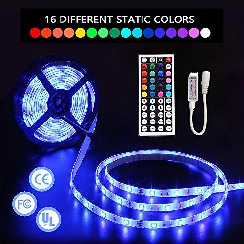 LED-Streifen-Lichter mit Fernbedienung 5m 16.4 Ft 5050 RGB 150LEDs Flexible Farbwechsel Komplettes Set mit RF-Mini-Controller, 12V 2A Netzteil für Innen und Außen oder als Weihnachtsdekoration