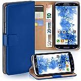moex Samsung Galaxy S3 | Hülle Blau mit Karten-Fach 360° Book Klapp-Hülle Handytasche Kunst-Leder Handyhülle für Samsung Galaxy S3 / S III Neo Case Flip Cover Schutzhülle Tasche