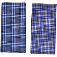 Cotton Crown Men's Skin Friendly Cotton Lungis (YVE013, Multicolour, Free Size) - Pack of 2
