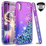 LeYi Hülle iPhone XR Glitzer Handyhülle mit Panzerglas Schutzfolie(2 Stück),Cover Diamond Rhinestone Bumper Schutzhülle für Case iPhone XR 6.1 Zoll Handy Hüllen ZX Gradient Purple Blue