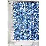 InterDesign Mila Floral Duschvorhang | Design Duschvorhang mit stabiler Aufhängung | schöner Badewannenvorhang 183,0 cm x 183,0 cm mit Blumenmuster | Polyester blau/weiß