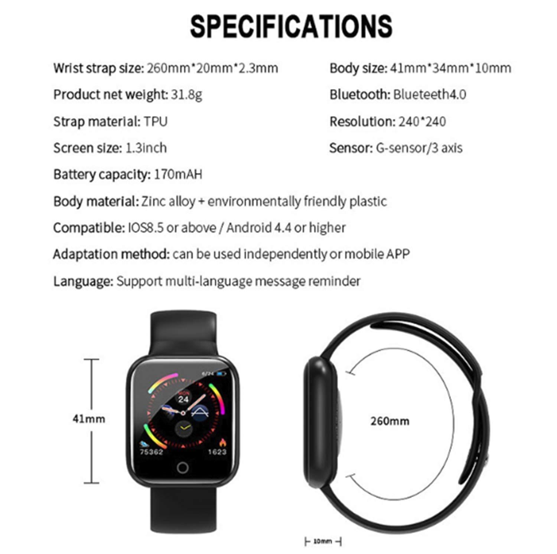 linyingdian Smartwatch, Reloj Inteligente Impermeable IP67 Pulsera de Actividad Inteligente con Monitor de Sueño Pulsómetros Podómetro Contador de Caloría, para Hombre Mujer niños 7
