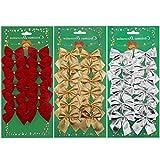 36 Stück Weihnachten Party Schleifen Weihnachten Schleifen 50 mm Rotgold Silber für Weihnachtsbaum, Dekorationen, Geschenke, Kunst und Handwerk