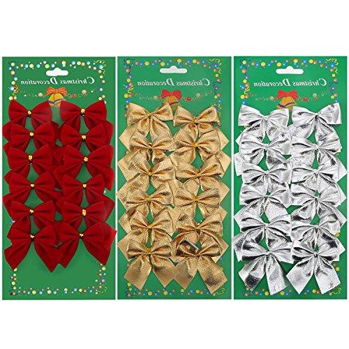 36 Piezas Lazos Navidad Decoración Hermoso Nudo de Arco la Decoración Perfecta para tu Hogar Conveniente para el árbol de Navidad Fiesta Boda