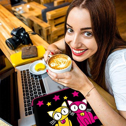 DIGITTRADE LS140-15 Notebook Sleeve 39,6cm 15,4 Zoll Laptoptasche Kitty to Go Neopren Schutzhuelle bis 39,6cm 15,6 Zoll wasserabweisend Anti Shock System Protection Case Neoprene LS144 Love Dreams