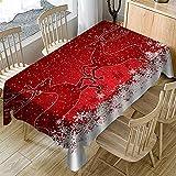 Ansenesna Tischdecke Weihnachten Rechteckig Stoff Tischtuch Weihnachtlich Dekoration Decke Für Party Festlich (Rot, 150X260cm)