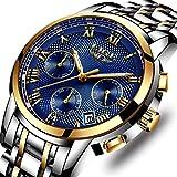 Montres,mode Luxe chronographe montre de sport, imperméable à l'eau montre à quartz analogique pour homme