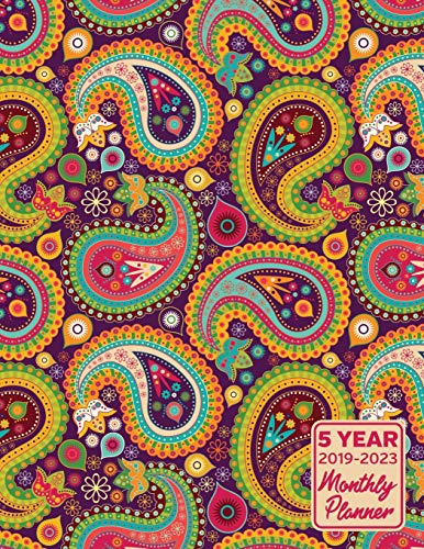 5 Year 2019 - 2023 Monthly Planner: Paisley Pattern Calendar Planner and Notebook 8.5x11 144 Pages
