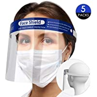 Reusable Safety Face Shield, 5 Pcs Anti-fog Full Face Shield, Universal Face Protective Visor for Eye Head Protection