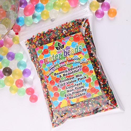 AINOLWAY 240g Wasserperlen Gelperlen(20,000pcs) Regenbogen Mischen Gelee Kristallkugeln für Kinder Taktiles Spielzeug und Pflanzung Blumen Dekor (Kristall Der Liebe)