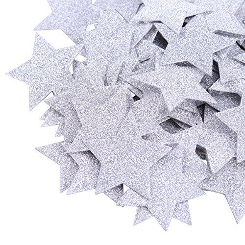 SUPVOX Tisch Konfetti Doppelseitige Glitter Stern Konfetti für Hochzeit Geburtstag Party Baby Dusche Tischdekoration Favors 100 stücke(Silber) (Favor Party Baby-dusche Für)