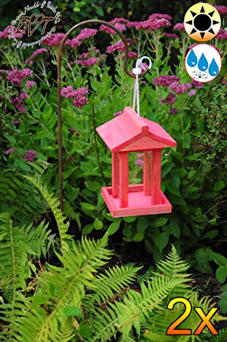 2 bird Feeders, 2 hooks With 4 x Feeding Dispenser And A Large Dispenser 1 litre No Shepherd, Salmon Red Glaze, Red Lining Area + Glazed Roof, Bird, Bird Feeder Red, Wine Red, Ski Patrol Red