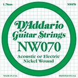 D'Addario NW070, cuerda individual con entorchado en níquel para guitarra eléctrica.070