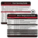 SANNO Fumo di carne e Guida alla temperature con Magnete per Griglia o Frigorifero, Il miglior barbecue Accessori per la griglia (Set per BBQ Guide 2)