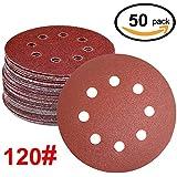WINGONEER 50PCS Sanding Discs Pads, 5-Inch 8-Hole 120-Grit Gancho y lazo de aluminio de óxido de papel de lija para la orbital orbital Sander