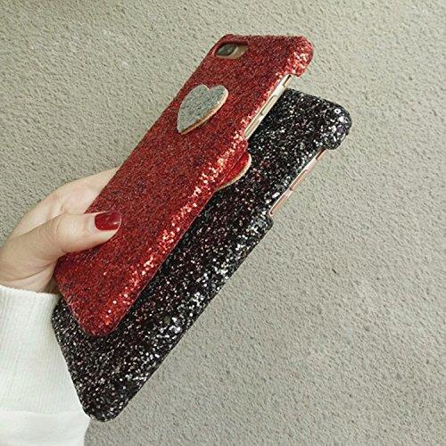 BING Für iPhone 7 Plus Herzform Glitter Powder Hard Schutzmaßnahmen zurück Fall Fall BING ( Color : Black ) Black