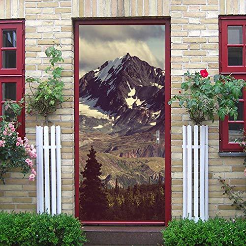 Zkamang Schnee Berg Kiefer Tür Aufkleber, 3D natürliche Landschaft Tür Aufkleber, Home Dekoration Tür Poster Wandbild