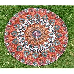Ronda de Yoga Mat india hecha a mano Alfombra playa hippie Mandala Mantel Redondo