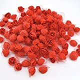 #4: iDream 3.5cm Artificial Rose Flowers For Wedding Bride Bouquet Decoration - Pack of 50 (Red)