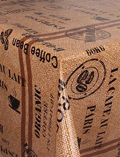 GearUp Wachstuch Tischdecke für Draußen und Drinnen - Wetterfest abwaschbar Pflegeleicht -in Verschiedenen Mustern im Landhaus Stil Farbe Kaffeesack Größe Rund 130 cm