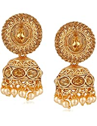 Meenaz Gold Plated Pearl Jhumki Jhumka Earrings For Women And Girls