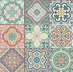 LPS Pack of 9 Mixed Pastel blue green yellow pink Victorian Moroccan retro traditional aged style Mosaic style tile transfers stickers bathroom kitchen stick on wall tile peel and stick size