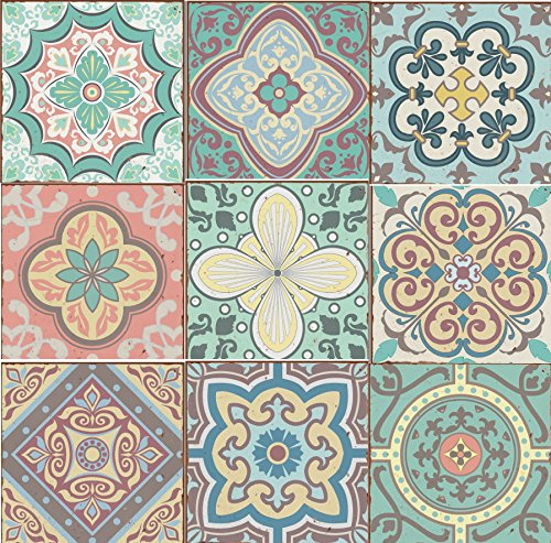 Pack of 9 Mixed Pastel blue green yellow pink Victorian Moroccan retro traditional aged style Mosaic style tile transfers stickers bathroom kitchen stick on wall tile peel and stick size 6X6 Trendy retro