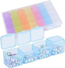 Plastik Aufbewahrungsbox Sortierbox Schmuckschatulle 28 Fächer Klein Klar Bunt Einstellbar Kunststoff